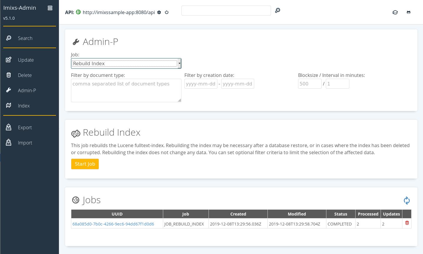 Imixs open source workflow the imixs admin client rebuild the lucene index falaconquin